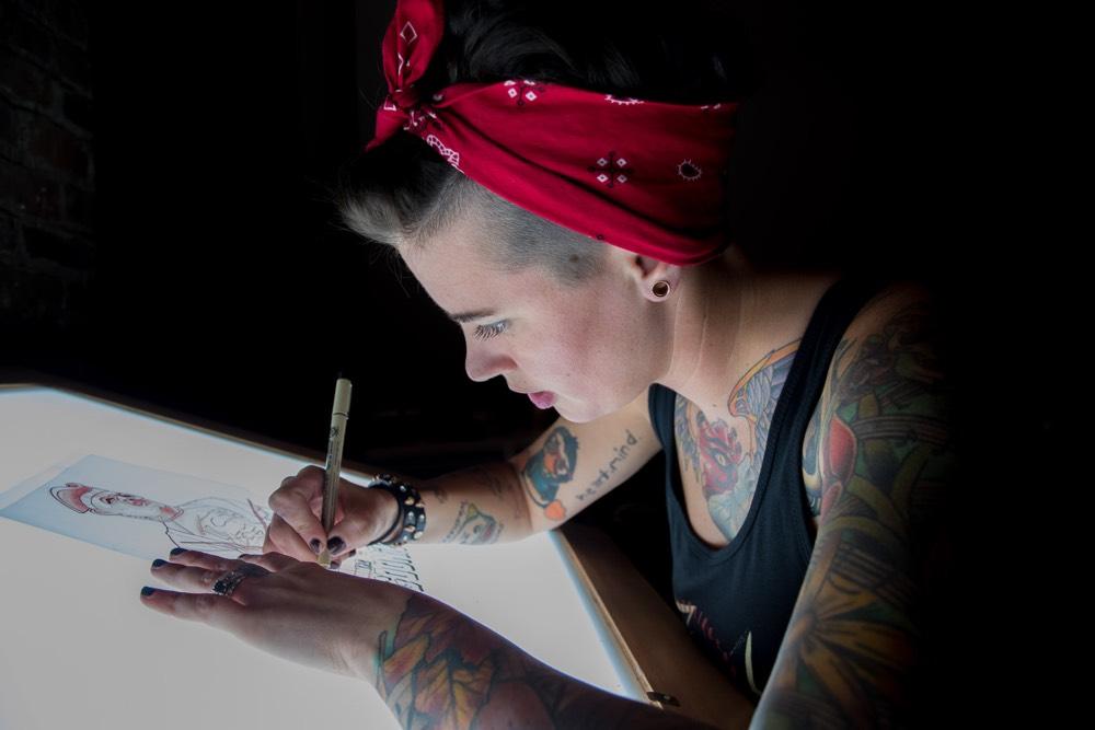 Amanda Householder preparing a drawing for a client at Hart & Huntington Tattoo Co. Nashville